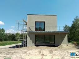 okna drewniane, okna sosna, kolor Merbau, drzwi przeswune HST 5,5m